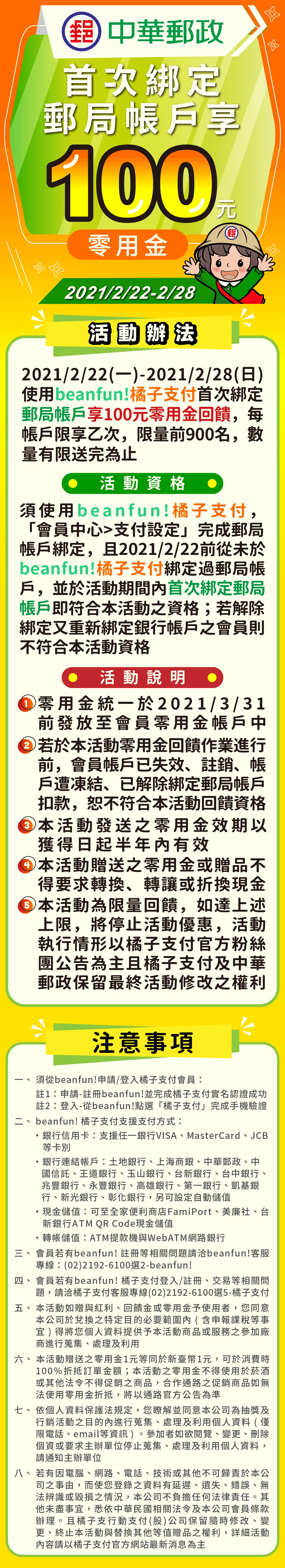 [情報] beanfun橘子支付首綁郵局帳戶享100零用金